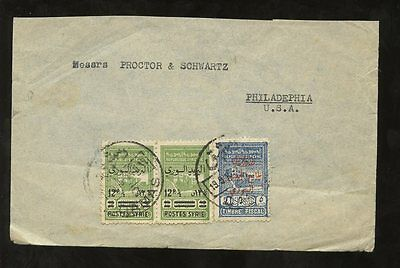 SYRIA POSTAL FISCALS 1945 to USA...SURCHARGES FRANKING