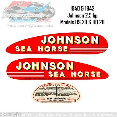 1940-42 Johnson 2.5hp Model HS 20 & HD 20 Outboard Reproduction 3 Pc Vinyl Decal