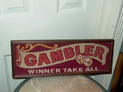 Gambler Winner Takes All with Dice Needlepoint Sign