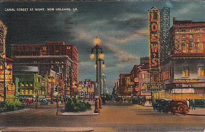 Postcard Canal Street at Night New Orleans LA