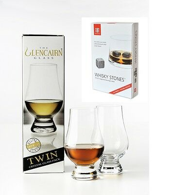 The Glencairn Whisky Glass set of 2 With 9 Teroforma Whisky Stones