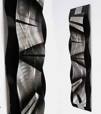 Modern Abstract Metal Wall Sculpture Art Black & Silver Painting Home Decor New