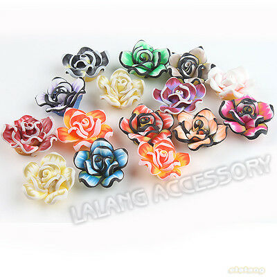 24x Hot Sale Charms Mixed Colorful Rose Flower Polymer Clay Spacer Beads 20mm LC