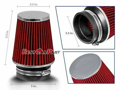 "3.5 Inches 3.5"" 89 mm Cold Air Intake Narrow Cone Filter Quality RED BMW"