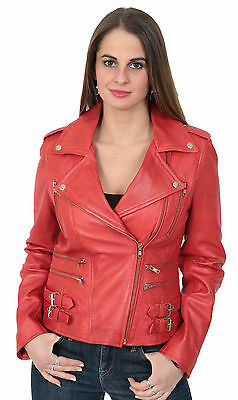 Ladies Biker Leather Jacket Beyonce Red Women Fitted Most Popular Best Leather