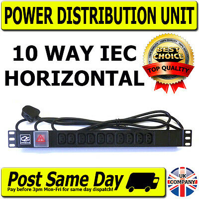 "19"" IEC Horizontal 10 Way Rack Mount Power Distribution Unit PDU Data Cabinet"