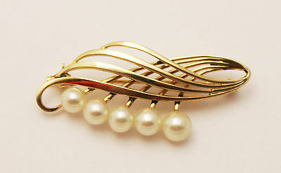 * ** ** VINTAGE LARGE 14K YELLOW GOLD BROOCH or CHEST PIN WITH 5 PEARLS ** ** *