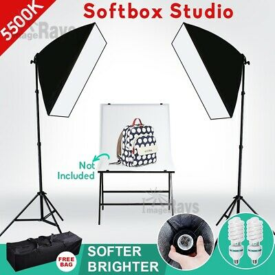 8X55W Photography Studio Continuous Lighting Softbox Soft Box Light Stand Kit AU