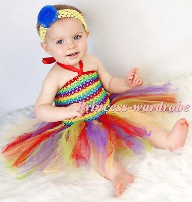 Baby HANDMADE Red Rainbow Knotted Tulle Tutu Matched Red Crochet Tube Top NB-24M