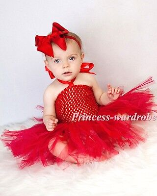 XMAS Baby Girl HANDMADE Hot Red Knotted Tulle Tutu Red Crochet Tube Top NB-24M