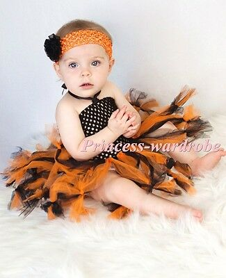 Baby HANDMADE Halloween Style Tied Knotted Tulle Tutu wif Crochet Tube Top 0-24M
