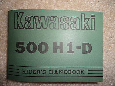 1973 Kawasaki 500 H1-D Rider's Handbook Owner's Manual H1 D Riders Owners Parts