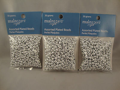Silver Plated Bead Mix - 3 Packages