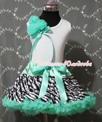 Aqua Blue Zebra Full Pettiskirt with Bunch Rosettes White Pettitop Girl Set 1-8Y