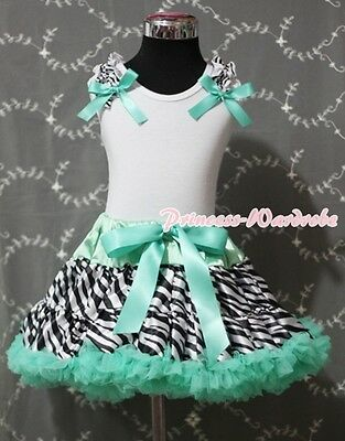Aqua Blue Zebra Print Pettiskirt White Pettitop Optional Ruffles & Bow Set 1-8Y