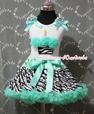 Aqua Blue Zebra Pettiskirt White Pettitop & Zebra Birthday Cupcake Girl Set 1-8Y