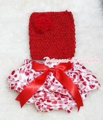 Newborn Baby Cream White Heart Bloomer with Red Crochet Tube Top 2PC Set NB-2Y