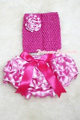 Newborn Baby Hot Pink White Dot Bloomer with Optional Crochet Tube Top 2PC NB-2Y