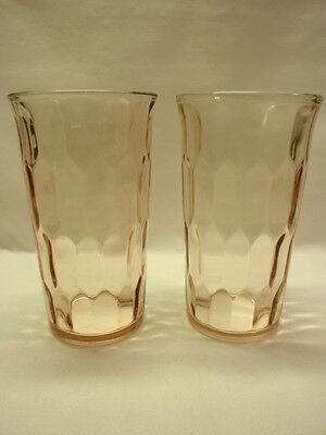 Set of 2 Jeannette Glass Pink Hex Optic Tumblers