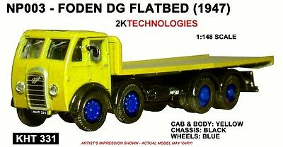 B-T Models NP003  Foden DG Flatbed Yellow Un Lettered 1/148th Scale - T48 Post