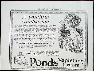 "1923 vintage beauty Ad Ponds Vanishing Cream ""To Soothe and Smooth Your Skin"""