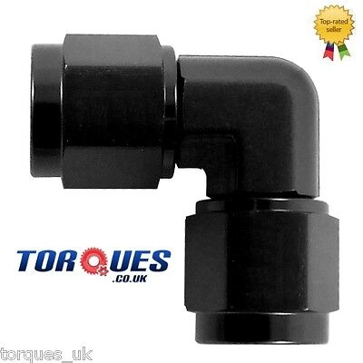 AN -6  90 Degree Female to Female Forged  Adapter BLACK
