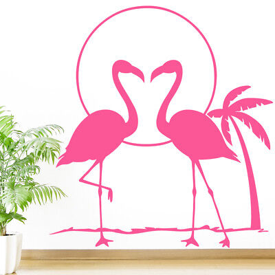 Flamingo at Sunset Wall Sticker - Bird Tropical Palm Tree Art Vinyl Decal