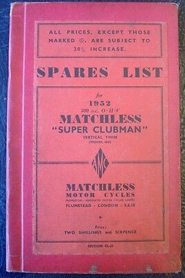 Matchless 500Cc Ohv - Hardback, Illustrated Motorcycle Spares List - 1952 #cl-23