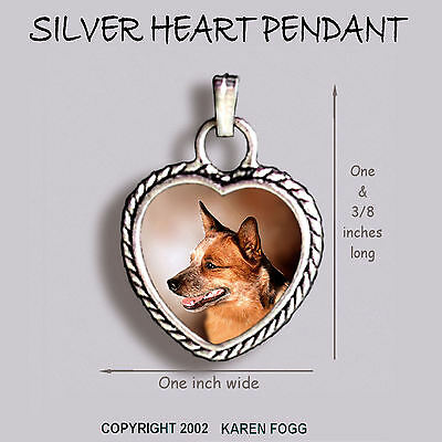 AUSTRALIAN CATTLE DOG Red - Ornate HEART PENDANT Tibetan Silver