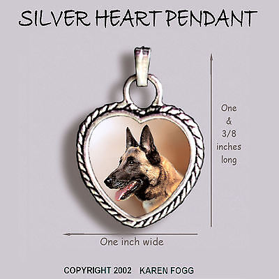 BELGIAN MALINOIS DOG - ORNATE HEART PENDANT Tibetan Silver