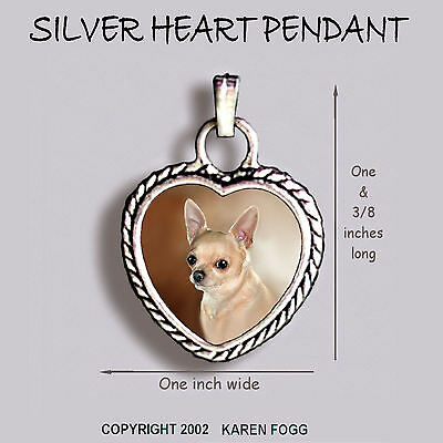 CHIHUAHUA DOG Smooth Fawn Adult - Ornate HEART PENDANT Tibetan Silver