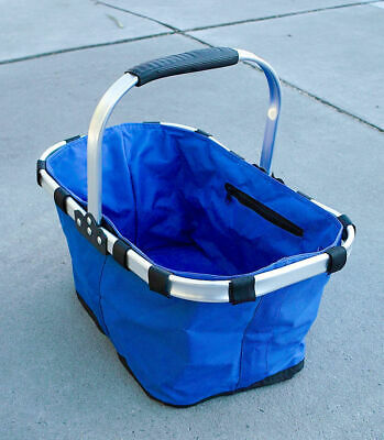 Foldable Picnic Basket, Folding Shopping Bag,Aluminium Frame, Zipper,Waterproof