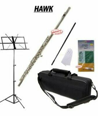 Hawk Nickel Closed Holed Student Flute Package, Case, Music Stand, Cleaning Kit