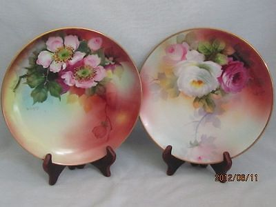 "2 Noritake Nippon  Hand Painted Artist Signed 8 1/2"" Plates Mark 27"