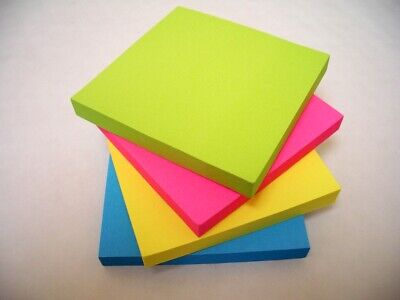 """400 NEON Remove It Sticky Post Notes 76mm x 76mm 3"""" x 3"""" (4 packs of 100)"""