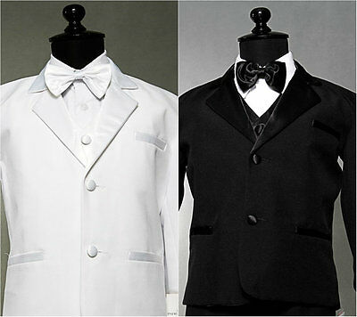 Bt01  New White  Boy Tuxedo 5Pc Set W/ Bow Tie Formal  Suit Size  S  To 20