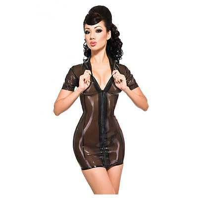R0334 LATEX PIN UP Maitresse DRESS *Trans Black* 0.40mm  RRP £159.39 - £187.11