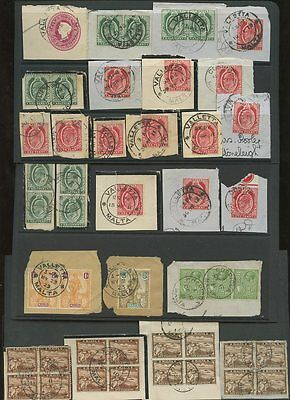 MALTA 1900-1923 USED on PIECE 46 STAMPS inc BLOCKS etc