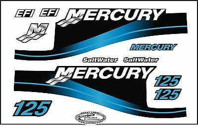 Mercury Outboard Motor 125 HP Horse Power - Blue Saltwater EFI Decals Boating