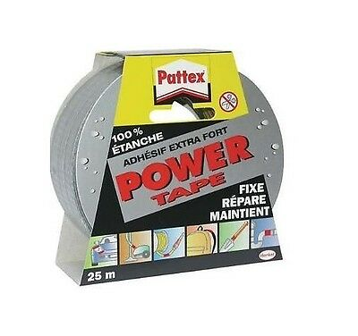 RUBAN ADHESIF EXTRA FORT GRIS 25 M POWER TAPE PATTEX resiste pression ETANCHE