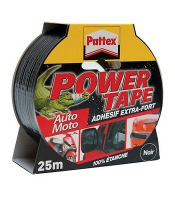 RUBAN ADHESIF EXTRA FORT NOIR 25 M POWER TAPE PATTEX resiste pression ETANCHE