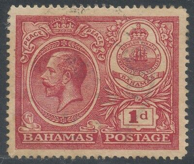 Bahamas 1920 1d Carmine Peace Reversed Watermark Error (SG#107x) Used Rare