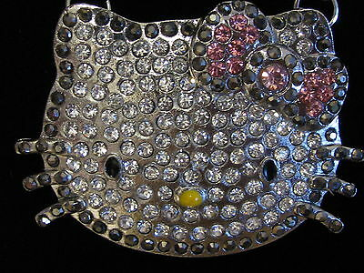 Large HELLO KITTY Face Iced Out Gray Outline Pink Bow Pendant Crystal Necklace