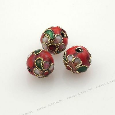 50x 160189 Red Enamel Flower Round Cloisonne Bead Fit Jewelry Making 8mm