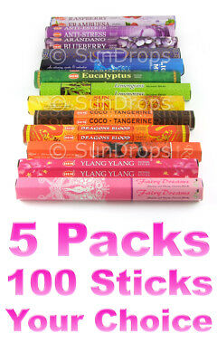 MIXED BULK INCENSE STICKS - 5 Packets - 100 Sticks - Hem Kamini & More