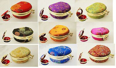 Wholesale10pcs Chinese Handmade Vintage Silk Jewelry Gift Box With Mirrors
