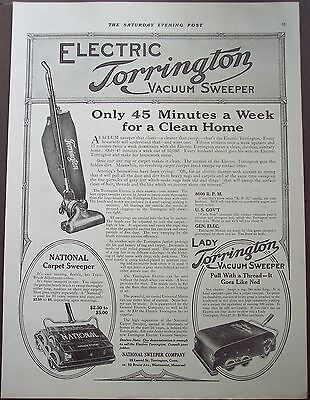 1916 original vintage Ad Electric Torrington Vacuum Sweeper
