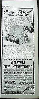 "original vintage 1916 Promo Ad ""Webster's New International Dictionary"""
