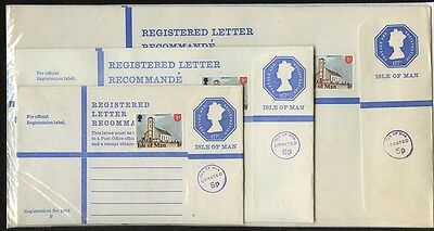 ISLE of MAN OCTAGONAL MACHIN REGISTERED STATIONERY G H K 67p+5p+1p..3 ENVELOPES