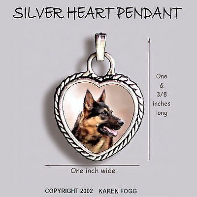 GERMAN SHEPARD DOG Brown Black - Ornate HEART PENDANT Tibetan Silver